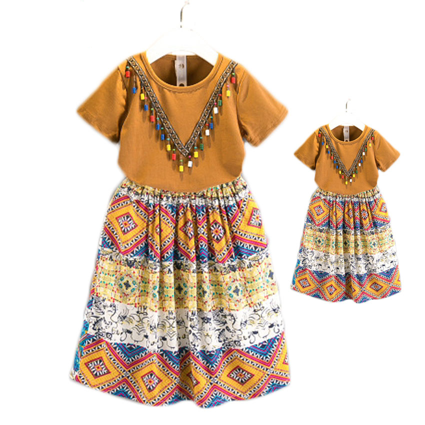 Ethnic Styled Mom And Daughter Matching Clothing Set