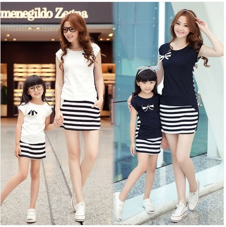 Striped Mother and Daughter Top and Shorts Set