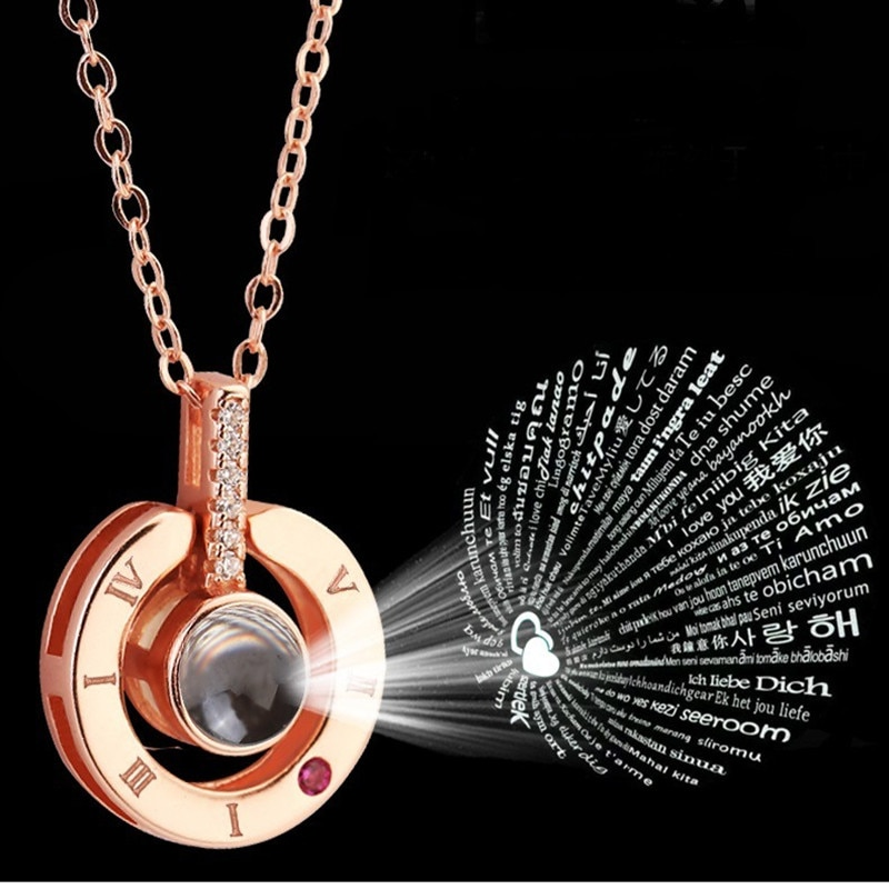 Women's 100 Languages I love You Projecting Pendant Necklace